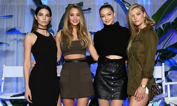 Lily Aldridge, Hannah Davis, Gigi Hadid and Nina Agdal were color-coordinated cuties at the Sports Illustrated Swimsuit 2016 Swim City launch in NYC.