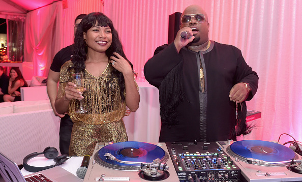 CeeLo Green deejayed with fiancee Shani James by his side at the Candy Crush Jelly themed Primary Wave pre-Grammy party 