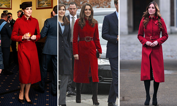 Kate first wore this striking LK Bennett red coat to visit the UNICEF center in Denmark in 2011, center, cinched with a leather belt. The coat's next appearance was two years later when the Duchess accompanied her husband to celebrate Remembrance Day, right, with her hair in glamorous waves. In February 2015 the classic piece got another showing during a visit to an Air Force base in Wales, a pillbox hat and black pumps giving it a military feel. <br>