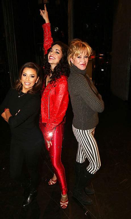 February 17: Move your body! Eva Longoria and Melanie Griffith posed with Ana Villafane, who plays Gloria Estefan, backstage at the 'On Your Feet!' musical in NYC.