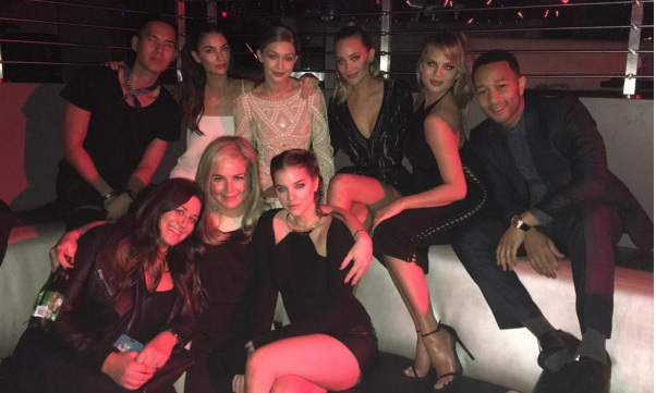 February 17: Swimsuit squad! Gigi Hadid, Chrissy Teigen, John Legend, Lily Aldridge, Barbara Palvin, Hannah Davis and Patrick Ta posed with Sport Illustrated Swimsuit editors during the Swimsuit Edition private party at STORY nightclub in Miami. 