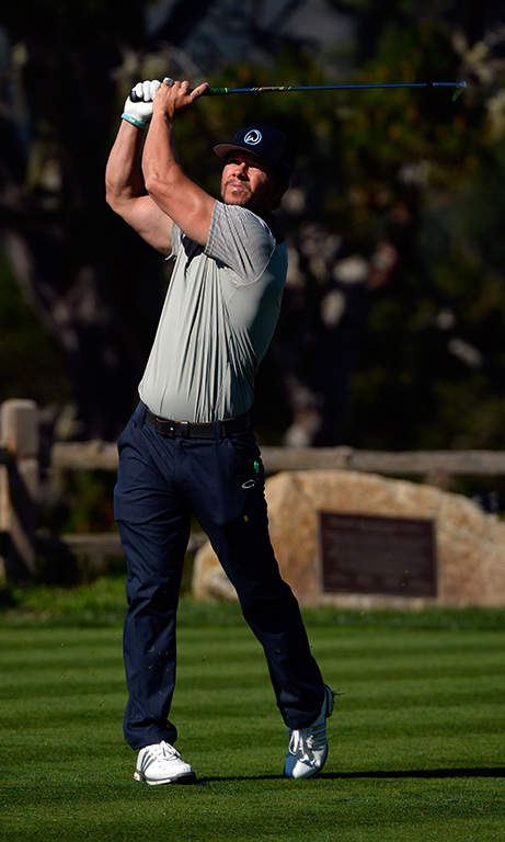 February 13: Tee time!  Mark Wahlberg showed off his golf skills during the fifth hole at the AT&T Pebble Beach National Pro-Am in Pebble Beach, California. 