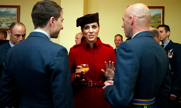 The Duchess of Cambridge chatted with members of the Royal Air Force during a reception at RAF Valley in Anglesey, Wales. 