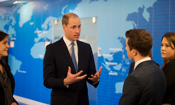 Prince William looked deep in conversation as he joined staff in the crisis response centre room at the Foreign and Commonwealth Office (FCO) in London, England.