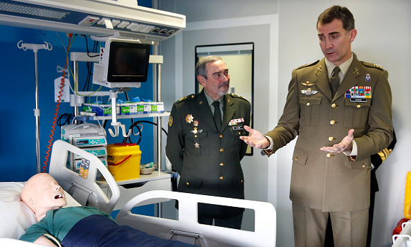 King Felipe of Spain looked over a 'patient' during a visit to the Central Hospital of Defense in Madrid.