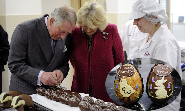 Prince Charles and Duchess Camilla tried their hand at decorating chocolate easter eggs at Taylors of Harrogate cooking school in York, England – and got to take home a special gift, eggs created for Princess Charlotte and Prince George (inset). 
