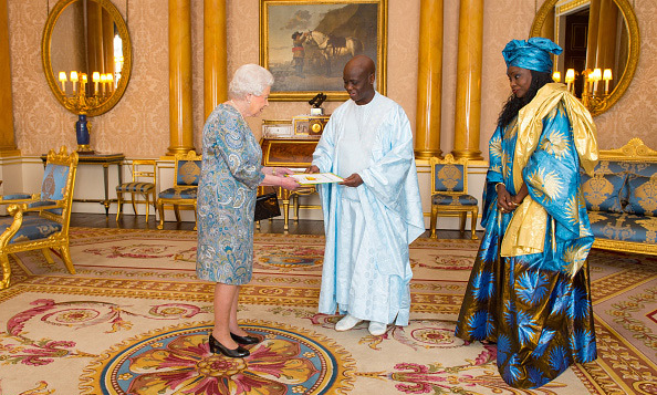 Queen Elizabeth welcomed the Ambassador of Senegal Cheikh Ahmadou Dieng and his wife Mrs Dieng to Buckingham Palace.
