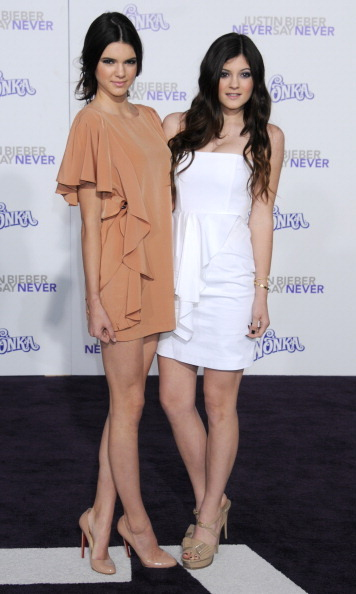 The sisters showed their support for Justin Bieber's 2011 <i>Never Say Never</i> movie premiere in soft ruffles and nude-colored heels.