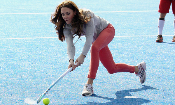 Watch out! Kate got back in touch with her former field hockey days in 2012 while playing with the GB hockey teams at the Olympic Park in London.