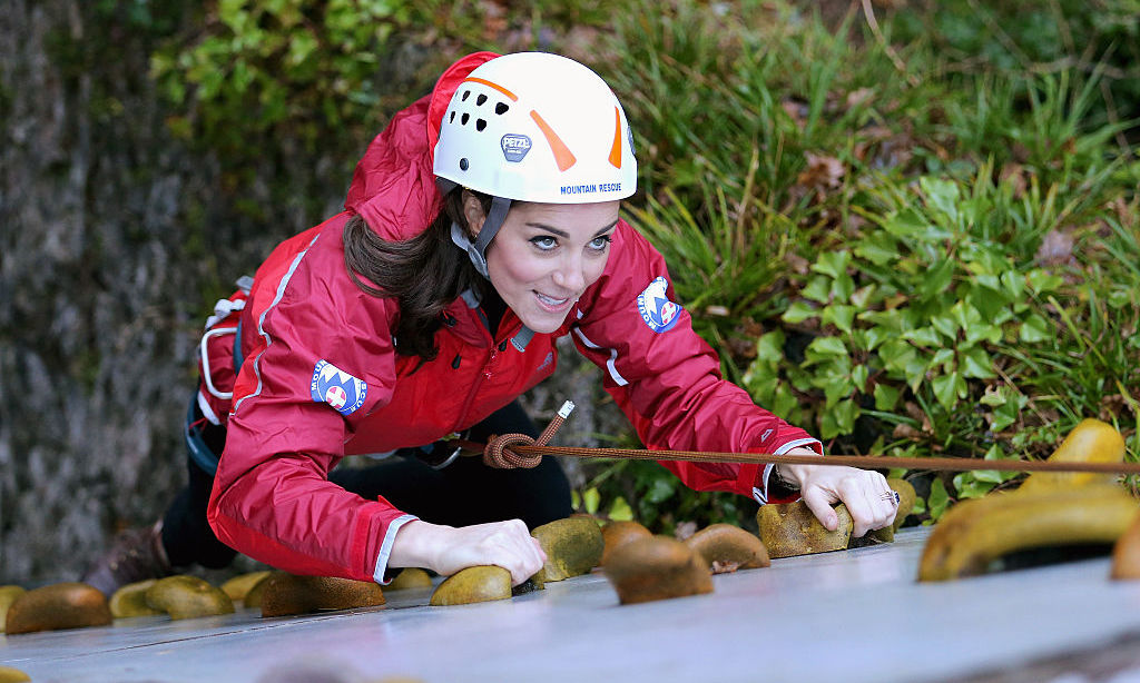 Prince George's mom had the eye of the tiger while rock climbing at the Towers Residential Outdoor Education Centre in Wales (2015).