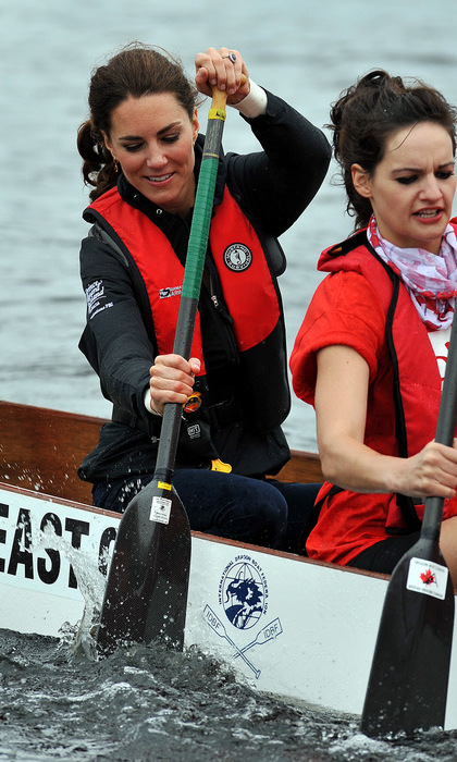 The Duchess of Cambridge somehow managed to make a life vest look chic while dragon boat racing against her husband during their 2011 Canadian tour.