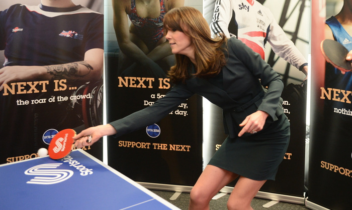 Nothing gets past Kate! The mom-of-two played a game of table tennis in a stylish power suit at ICAP's 2015 charity day.
