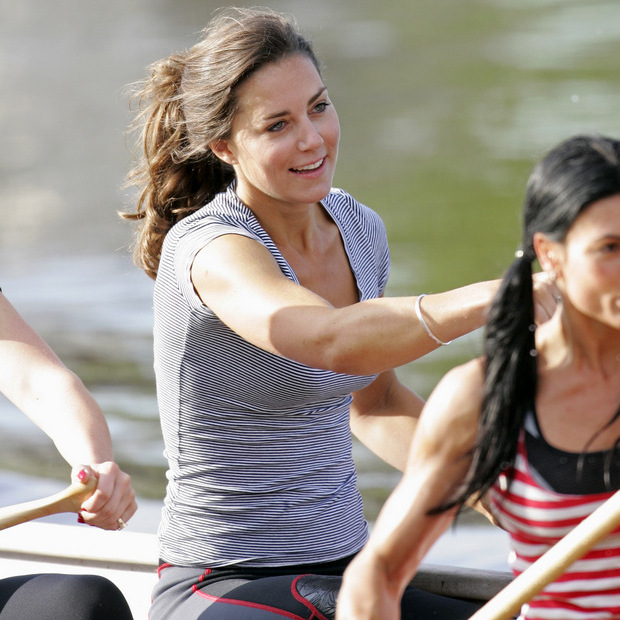 Ready, set stroke! Kate Middleton showed off her impressive rowing skills while training session with the Sisterhood cross Channel rowing team in 2007.