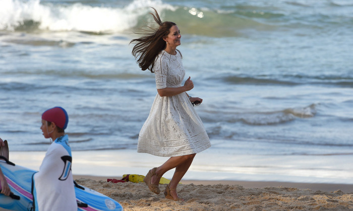 Run Kate, run! The Duchess of Cambridge gave 'Baywatch' a run for their money (in wedge heels!) at beach at Manly, on Sydney's north shore in 2014.
