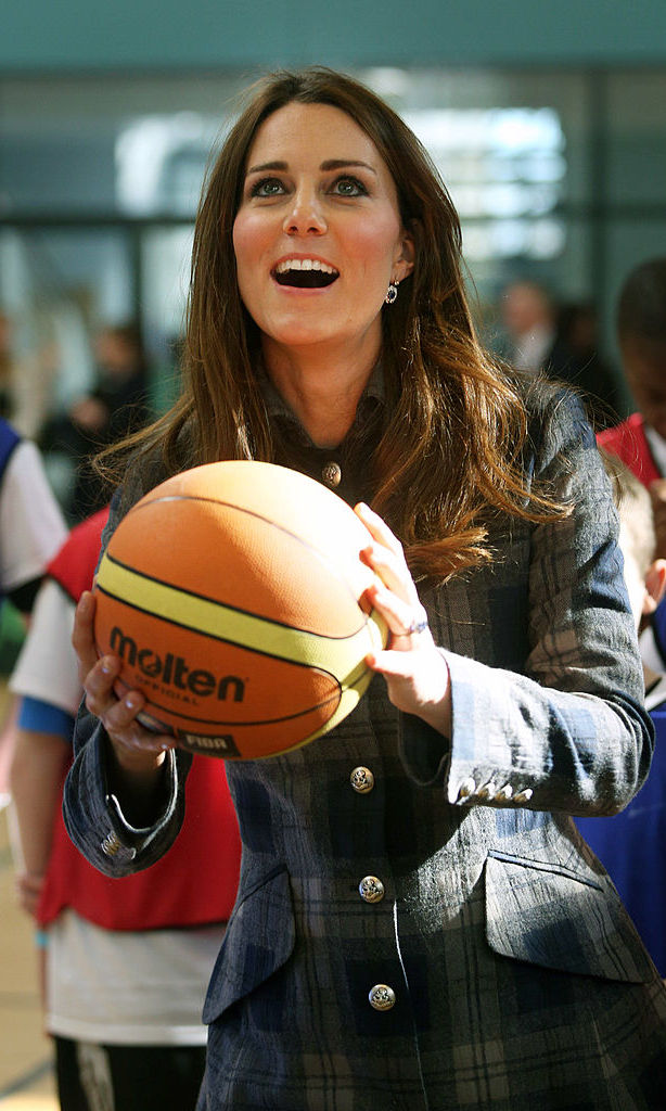 Kate channeled her inner LeBron James while shooting hoops at Scotland's Donald Dewer Leisure Centre in 2013.