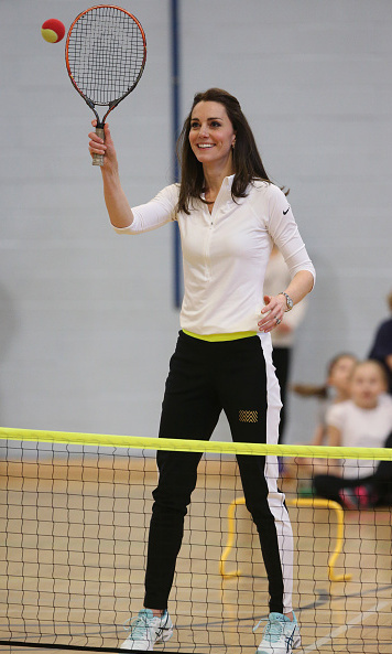 The Duchess proved that she can be fashionable even wearing athletic gear. The royal wore stylish track pants from British brand Monreal London and a tight-fitting Nike tennis top with Asics sneakers.