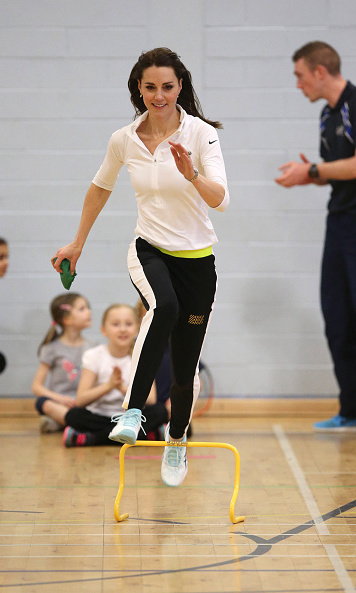 The sporty Duchess was not afraid to get involved when she attended the tennis workshop set up by the foundation Tennis On The Road.
