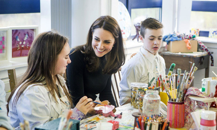 The royal got involved in a painting workshop at the art studio. The charity, The Art Room, of which Kate is a patron, helps children to increase their self-esteem, self-confidence and independence through art.