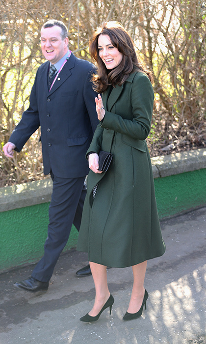 The Duchess of Cambridge looked chic as ever in a Max Mara green coat as she arrived in Edinburgh to begin her day of official events.