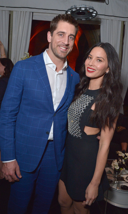 February 23: Olivia Munn was on hosting and girlfriend duty with her NFL boyfriend Aaron Rodgers at the Vanity Fair and FIAT Young Hollywood Celebration at Chateau Marmont in West Hollywood.