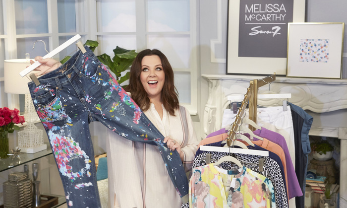 February 23: Melissa McCarthy got her hands on a pair of paint splattered jeans from her HSN spring collection while visiting the network in St. Petersburg, Florida.