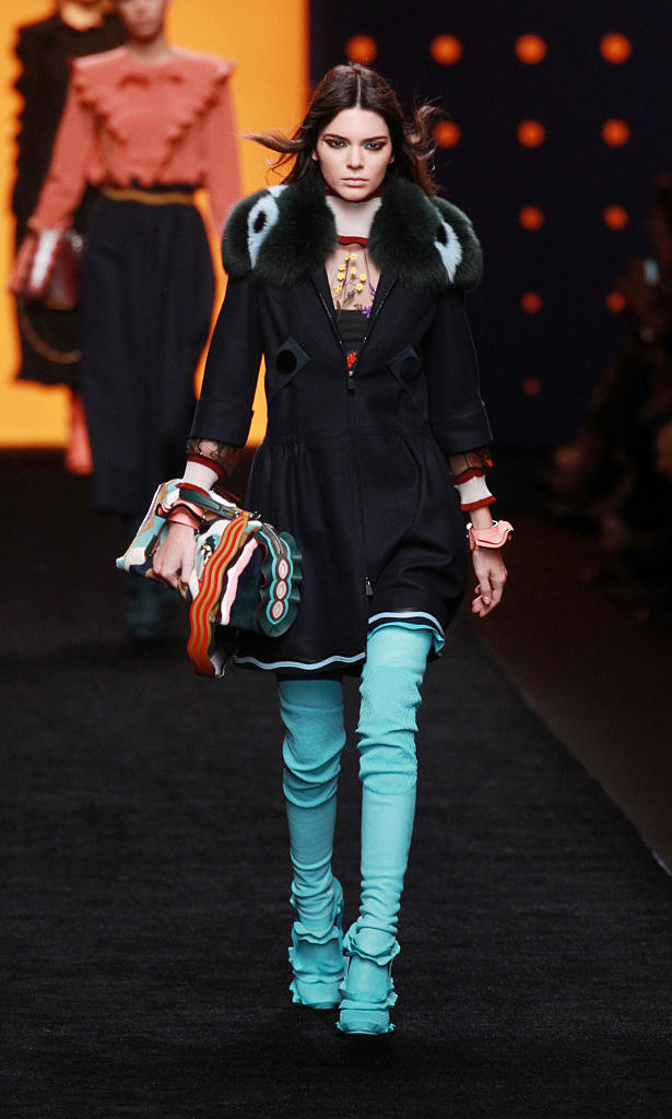 February 25: Work it girl. Kendall Jenner opened the Fendi runway show in Milan during Milan Fashion Week.