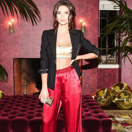 February 25: Now that is proper slumber party attire! Emily Ratajkowski looked fabulous in her Dolce & Gabbana pajamas at the #DGPYJAMAPARTY in Los Angeles. 