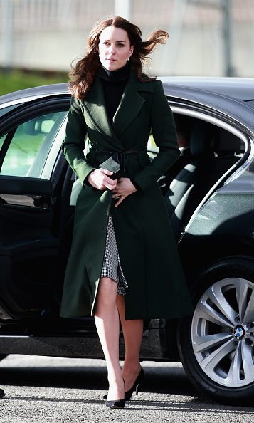 Kate Middleton recycled a forest green Sportmax overcoat for her trip to Edinburgh, Scotland.