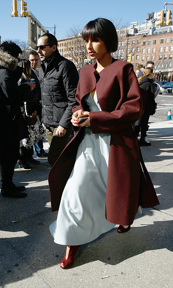 Saudi Princess Deena Aljuhani Abdulaziz was spotted in  a matching coat and heels outside of the Calvin Klein Collection show at New York Fashion Week.