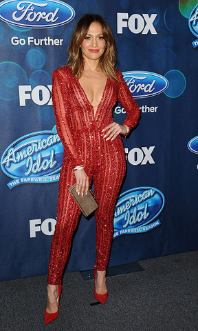 February 25: Jennifer Lopez hasn't met a deep-plunge she doesn't like! The singer was red hot in Zuhair Murad Couture for the 'American Idol XV' finalists party at the London Hotel in West Hollywood.