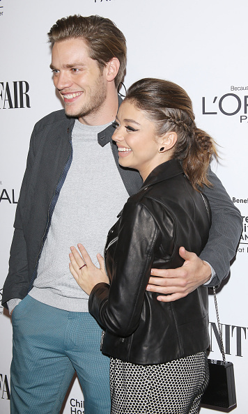 Sarah Hyland (with boyfriend Dominic Sherwood) had her braid continueinto the ponytail at the Vanity Fair DJ Night.