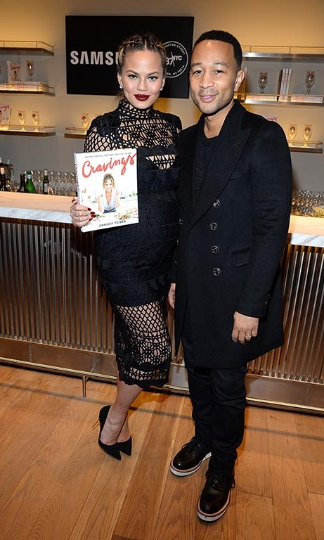 March 3: Something's cooking! Chrissy Teigen celebrated the lauch of her new cookbook <i>Cravings</i> with John Legend at Samsung 837 in NYC. 