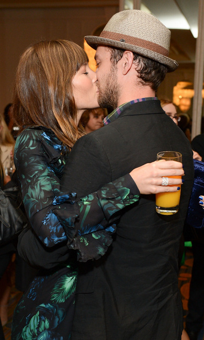 "He's her love and there's no other woman that could take her spot! (If you understood the JT reference, then congratulations) The ""My Love"" singer planted a kiss on his wife during Variety's 2012 Power of Women Event.