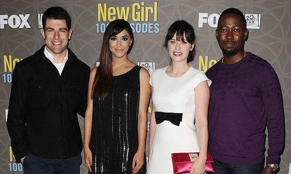 March 2: One hundred never looked so good! The cast of <i>The New Girl</i>,Hannah Simone, Max Greenfield, Zooey Deschanel and Lamorne Morris celebrated the series milestone at STK in L.A. 