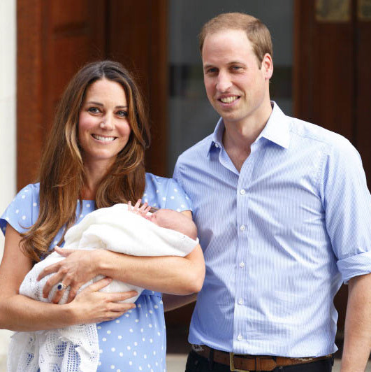 July 2013: An introduction to the prince! Prince William and Kate showed off brand new prince George on the way home from the hospital after his birth. 