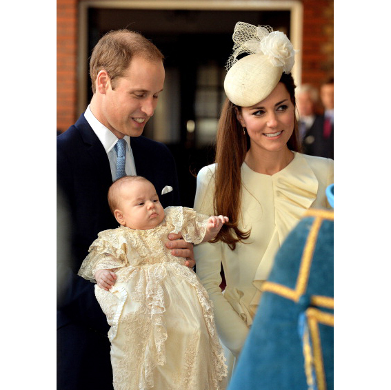 October 2013: Three-month-old George was in charge during his christenting while his father Prince William held him and his mother Kate Middleton looked on.