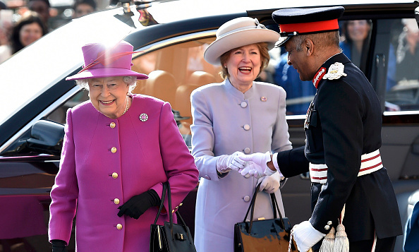 Queen Elizabeth was all smiles as she made her way into Lister Community School to attend an event held by the Queen's Trust.