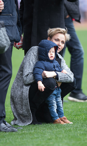 Princess Charlene enjoyed some quality mommy and me time with her son Prince Jacques at the 6th Sainte Devote rugby tournament Stade Louis II in Monaco.