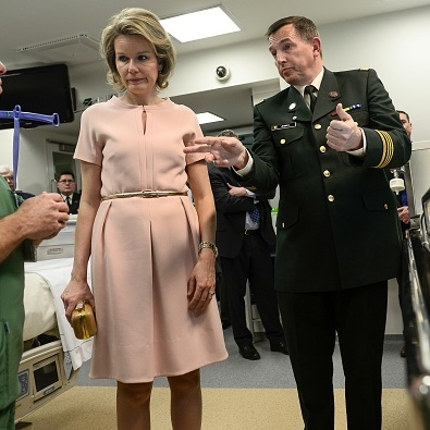 Queen Mathilde of Belgium paid a visit to the Queen Astrid military hospital in northern Brussels with Colonel Dr. Serge Jennes.