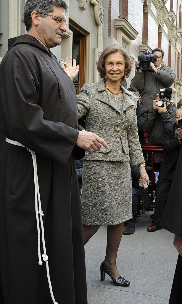 Queen Sofia of Spain stepped out for a traditional thanksgiving service at Medinaceli Church in Madrid.