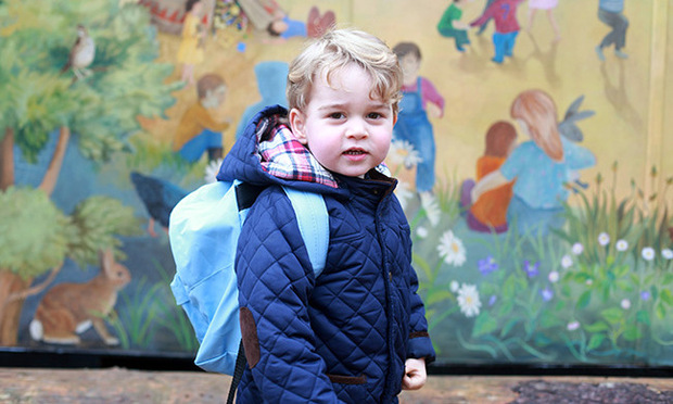 Excited for his first day at pre-school, The Duchess of Cambridge captured an excited Prince George as he made his way to Westacre Montessori school in Norfolk, England.