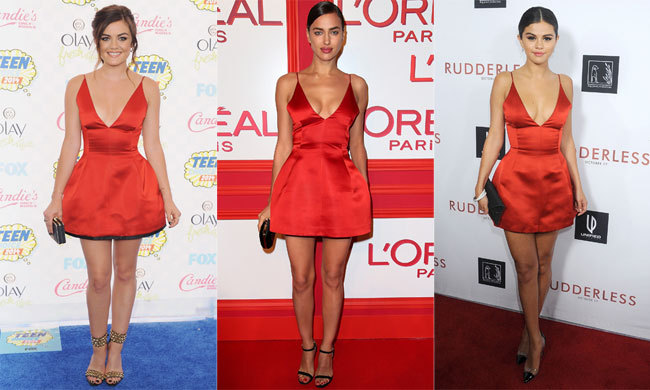 Las In Red The Dress Irina Shayk Lucy Hale And Selena Gomez All Love