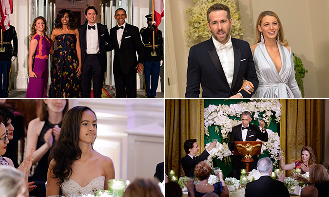 On Thursday evening the Obamas welcomed Canadian Prime Minister Justin Trudeau and his wife Sophie to the White House for a lavish state dinner. The guests of honor were joined at the event by Canadian film star Ryan Reynolds and his wife Blake Lively.