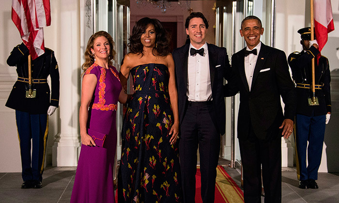 Prime Minister Justin Trudeau and his wife Sophie Grégoire Trudeau were the guests of honour at a state dinner hosted by President Barack Obama and Michelle Obama at the White House on Thursday evening.