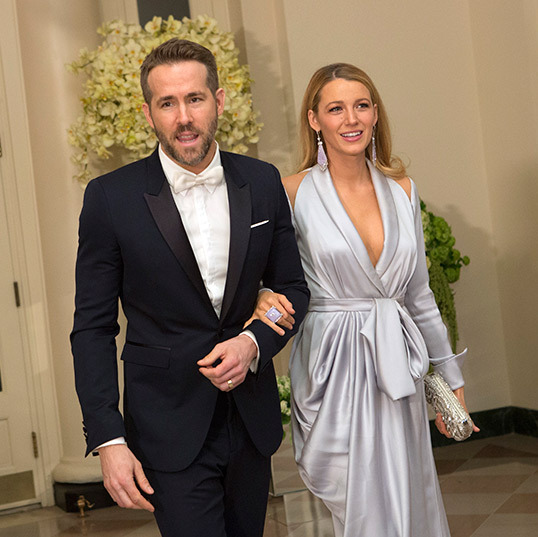 Canadian movie star Ryan Reynolds was accompanied by his stunning wife Blake Lively. The actress upped the glamour in a pale blue grecian-inspired gown. 