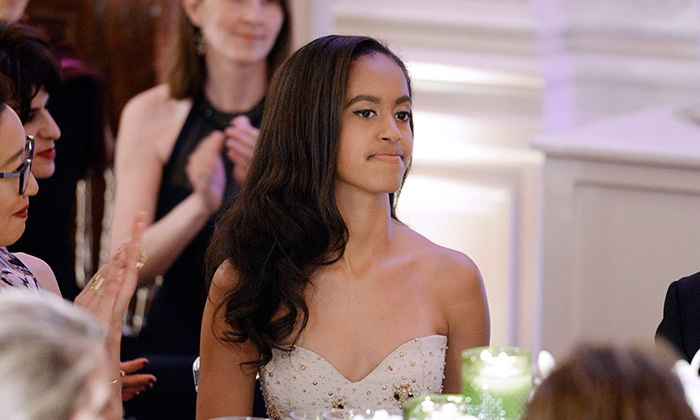 On Thursday evening was a special night for the Obama family as it was the first state banquet that Barack's daughters Malia and Sasha have attended. Seventeen-year-old Malia looked stunning in a strapless cream dress.