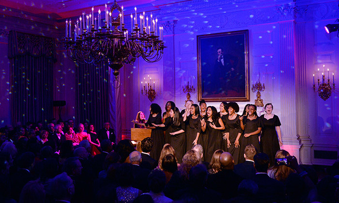 Following the meal, guests filed into the State Dining Room for a special performance by five-time Grammy nominee Sara Bareilles before dancing the night away.