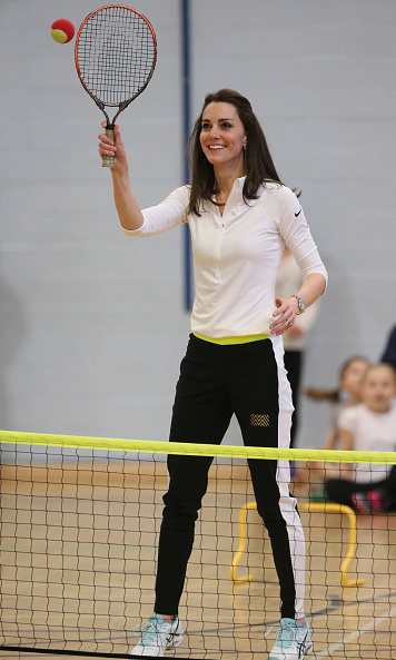 The royal showed off her athletic physique in a Nike top, Asics sneakers and Monreal London track pants as she joined British tennis star Andy Murray's mom, Judy Murray, at a Tennis On The Road workshop in Edinburgh.