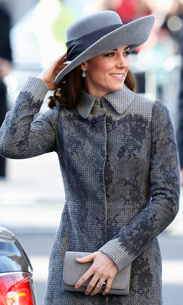 Kate Middleton was fifty shades of grey, stepping out to support the Queen at the annual Commonwealth service held at Westminster Abbey.