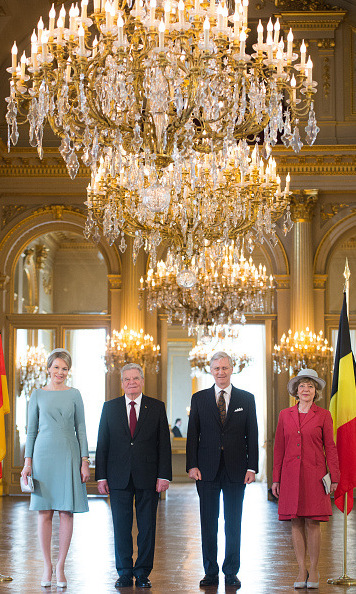 Queen Mathilde of Belgium, German President Joachim Gauck, King Philippe of Belgium and Daniela Schadt posed for a photo during a reception at the Royal Palace in Brussels, as part of the German president's state visit.